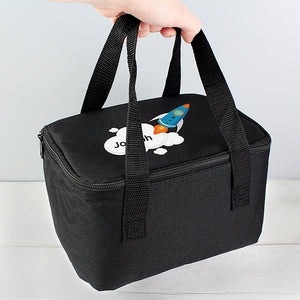 Rocket Theme Black Lunch Bag