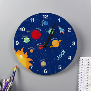 Solar System Glass Clock