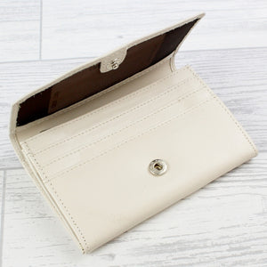 Classic Cream Leather Purse Wallet