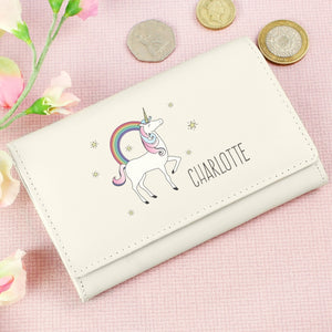 Personalised Unicorn Cream Purse Wallet