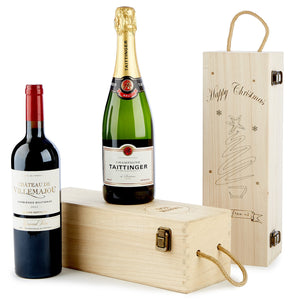 Custom Engraved Wood Single Bottle Gift Box