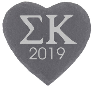 Greek Letters Fraternity Sorority Heart Slate Coaster