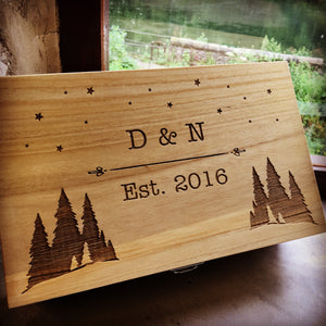 Starry Night Engraved Two Bottle Wood Gift Box