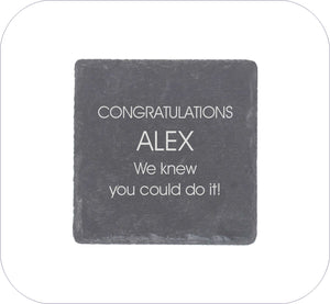 Congratulations Personalised Square Gift Coaster