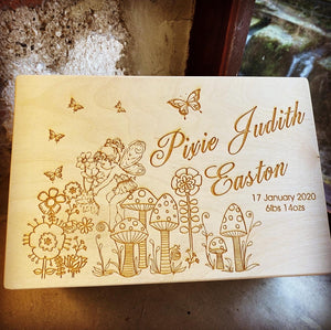 Pixie's Garden Personalised Wood Memory Box