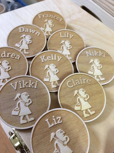 Custom Made Circular Wood Name Tags Badges Pins