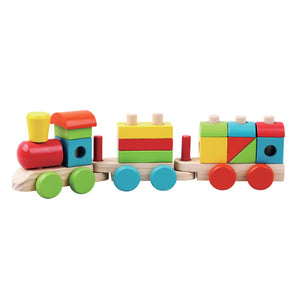 Wood Toy Train with Shape Stacking Sorter
