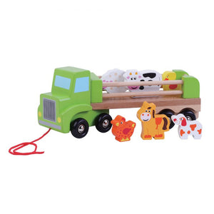 Personalised Bright Colourful Solid Wood 8 piece Farm Lorry / Truck Toy with Animals