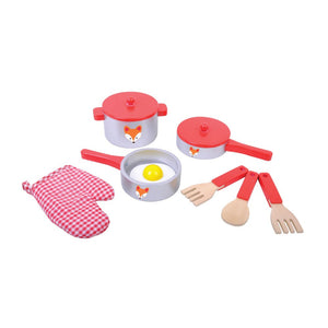 Wooden Kitchen Pan Play Set