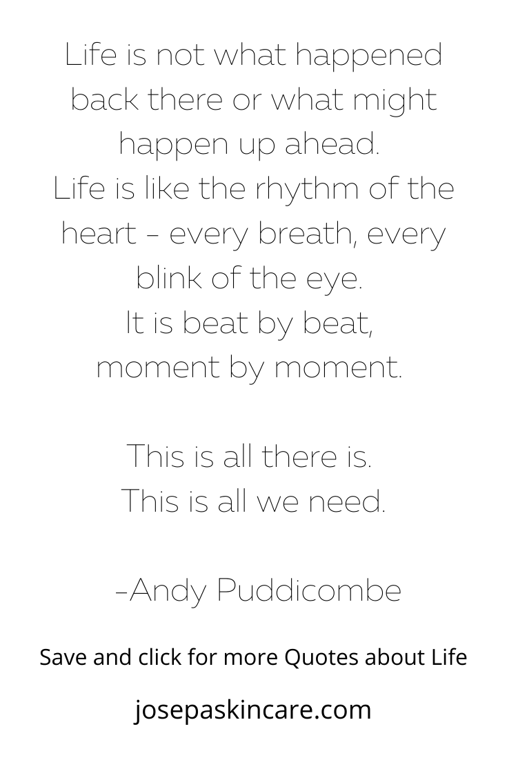 Life is not what happened back there or what might happen up ahead. Life is like the rhythm of the heart - every breath, every blink of the eye. It is beat by beat, moment by moment. This is all there is. This is all we need.     -Andy Puddicombe