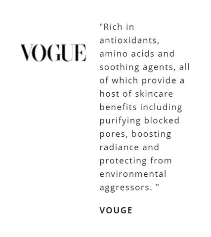 """""""Rich in antioxidants, amino acids and soothing agents, all of which provide a host of skincare benefits including purifying blocked pores, boosting radiance and protecting from environmental aggressors."""""""