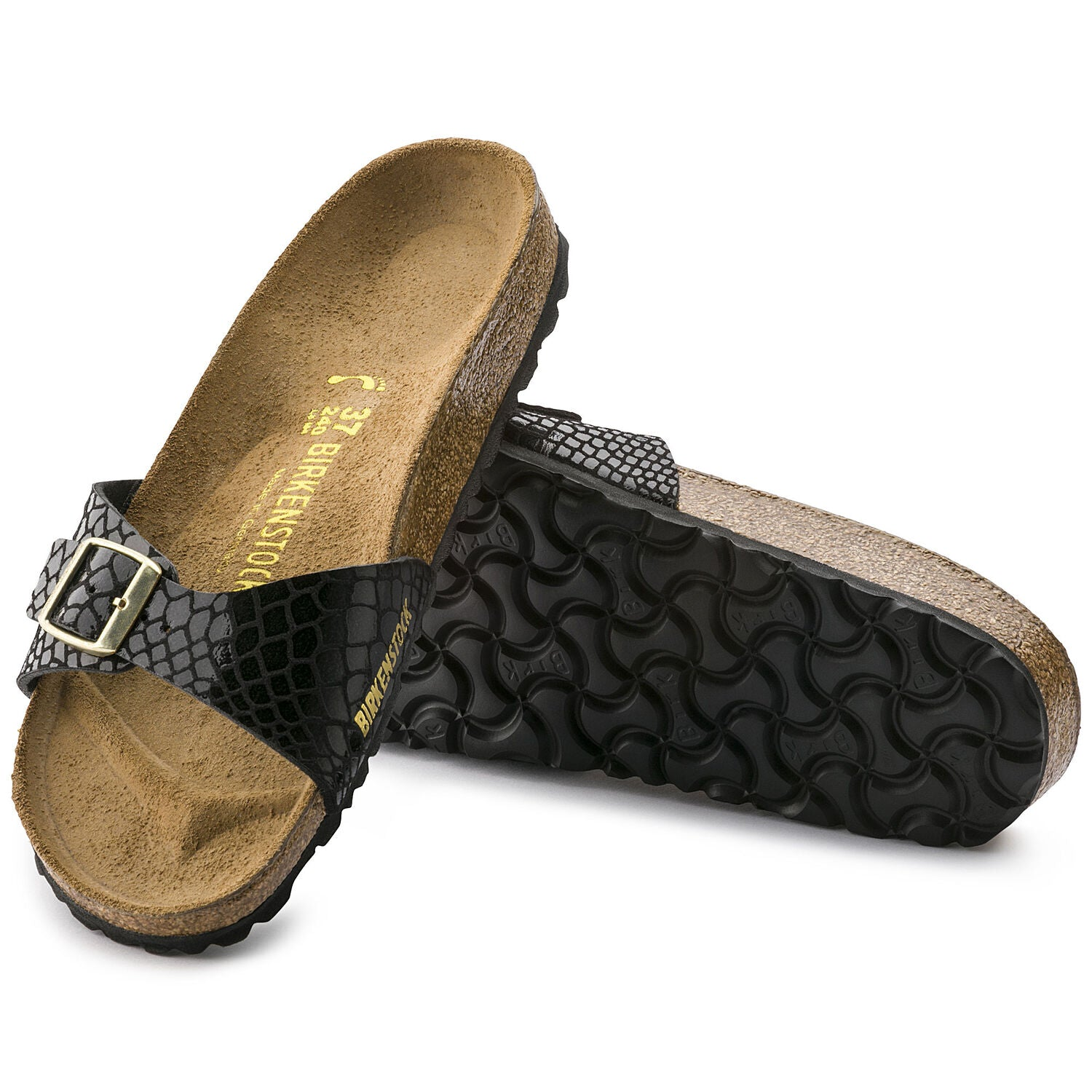 Sandalia Madrid Shiny Snake Black
