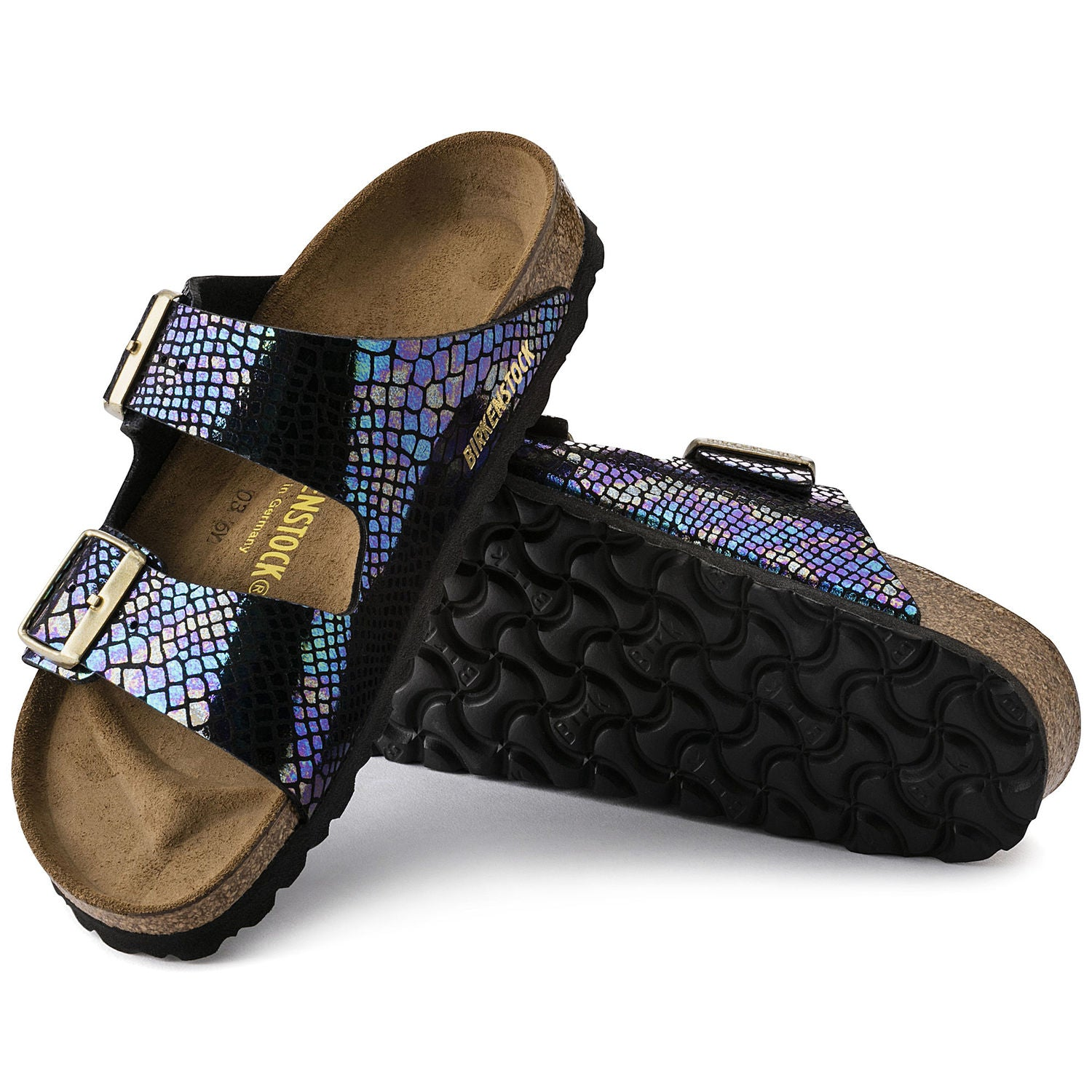 Sandalia Arizona Shiny Snake Black Multi