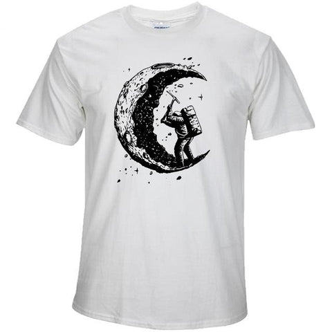 Digging The Moon Print Casual Men's O-Neck T-Shirts