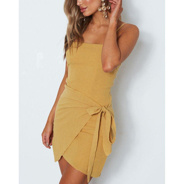 Wink Gal Roxana Mini Dress Mustard 1738 - WinkGalB2B