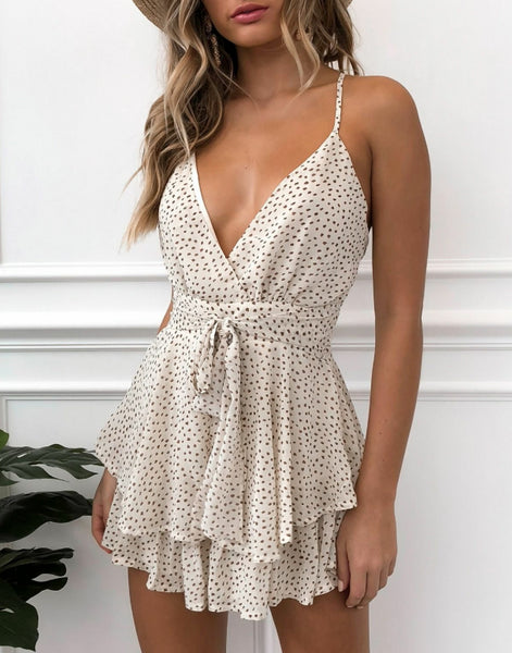 Wholesale Walk Me Home Playsuit Beige Speckle N642 - WinkGalB2B