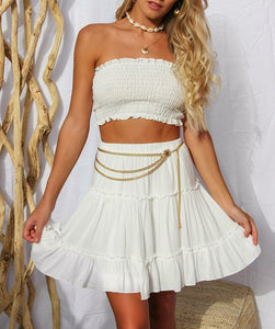 Wholeslae WHITE SHIRRED BANDEAU TOP AND SKIRT SET N674 - WinkGalB2B