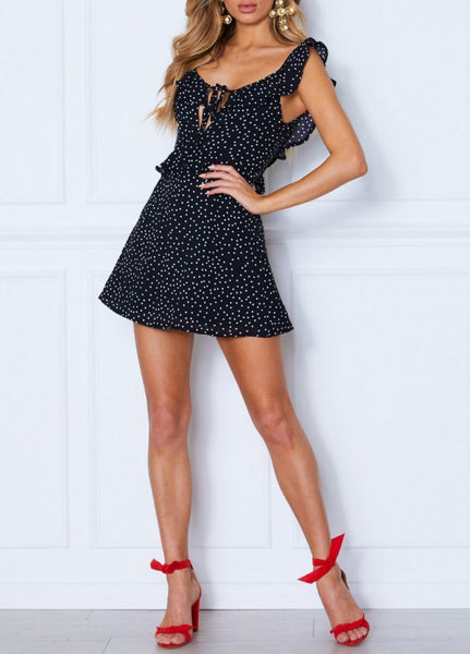 Wholesale Soul Searchin' Mini Dress Black Spot N730 - WinkGalB2B