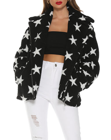 Wholesale STAR FUR JACKET - BLACK STAR N883 - WinkGalB2B