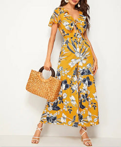 Wholesale Floral Print Tie Front Flare Leg Belted Jumpsuit N1064 - WinkGalB2B