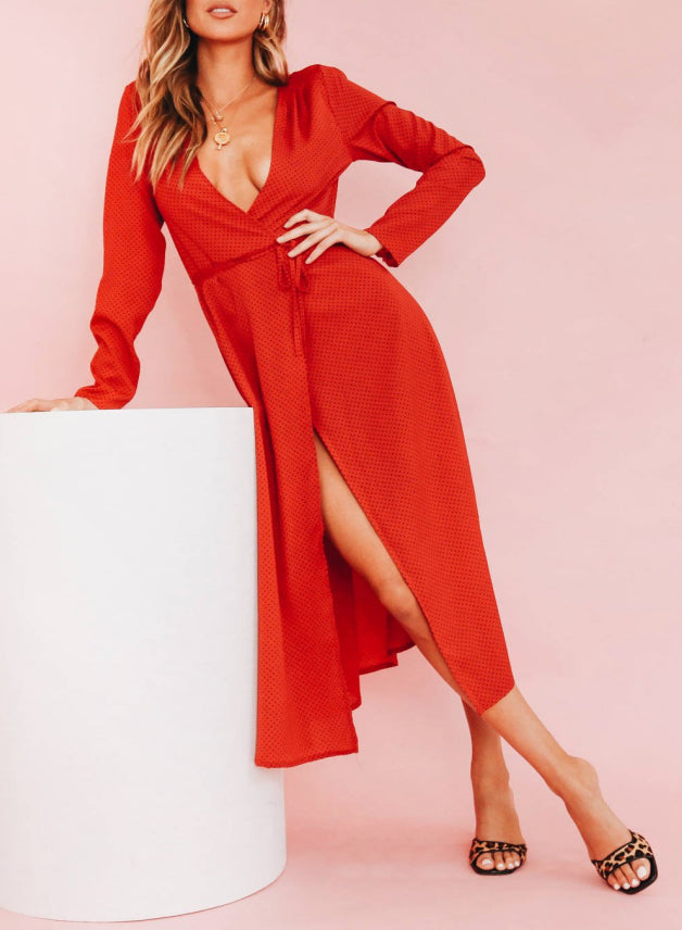 Wholesale Elie Wrap Midi Dress // Red N1137 - WinkGalB2B