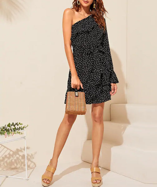 Wholesale One Shoulder Polka Dot Ruffle Trim Belted Dress N1158 - WinkGalB2B