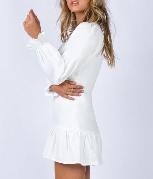 Wholesale THE VALLEY MINI DRESS WHITE N1178 - WinkGalB2B