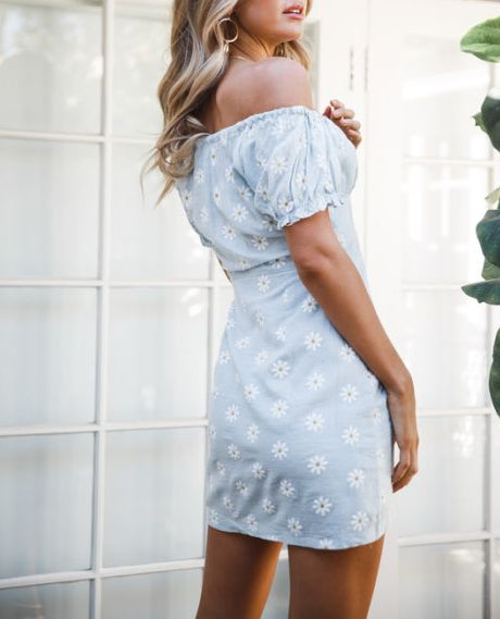 Wholesale SHEER LIAR OFF SHOULDER DRESS - Light Blue Floral N1332 - WinkGalB2B