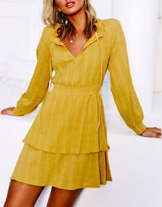 Wholesale HERMOSA DRESS (MUSTARD) N1349 - WinkGalB2B