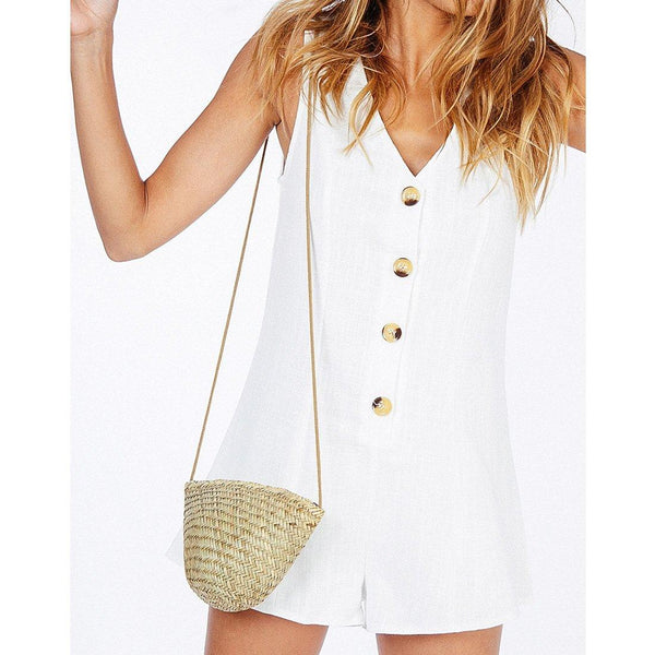 Wink Gal Young Blood Button Up Romper White P18009# - WinkGalB2B
