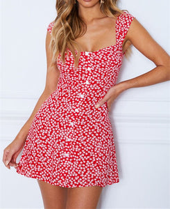 Wholesale Fall Flowers Mini Dress Red Print N414 - WinkGalB2B