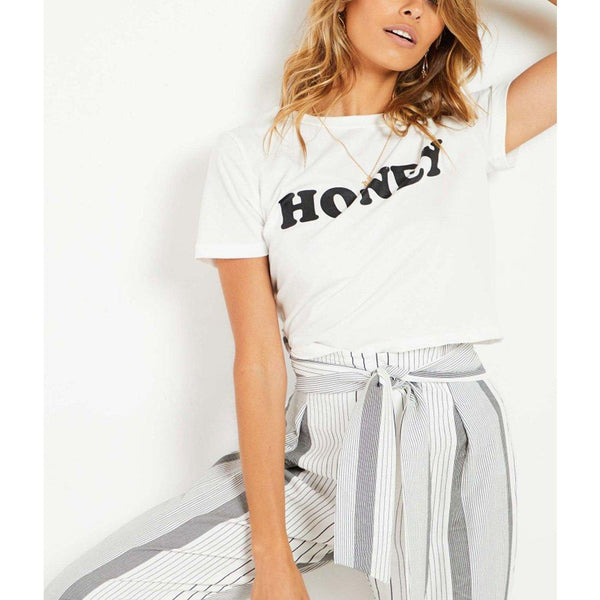 Wink Gal  All You Honey Tee White-Black T17223 - WinkGalB2B