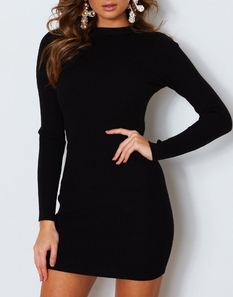 Wholesale Lift Yourself Knit Dress Black N967 - WinkGalB2B