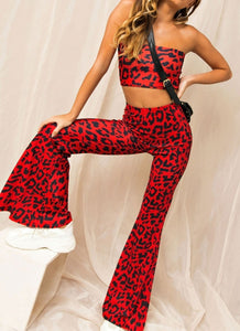 Wholesale Pants Set - Red Leopard Print N306 - WinkGalB2B