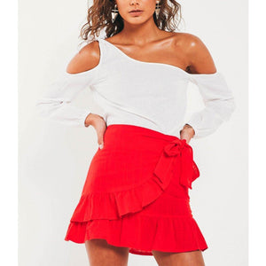 Wink Gal Stories Of The Sea Mini Skirt Red S18002# - WinkGalB2B