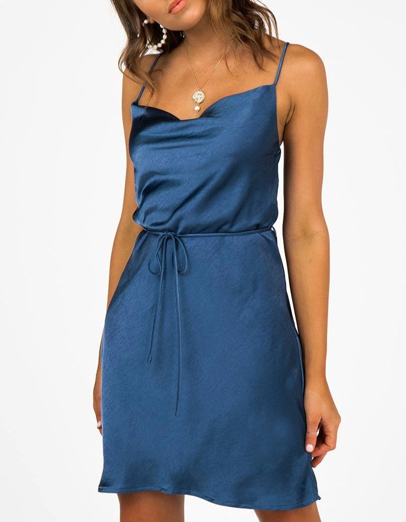 Wholesale Rue Cobalt Satin Cowl Midi Dress N1485 - WinkGalB2B