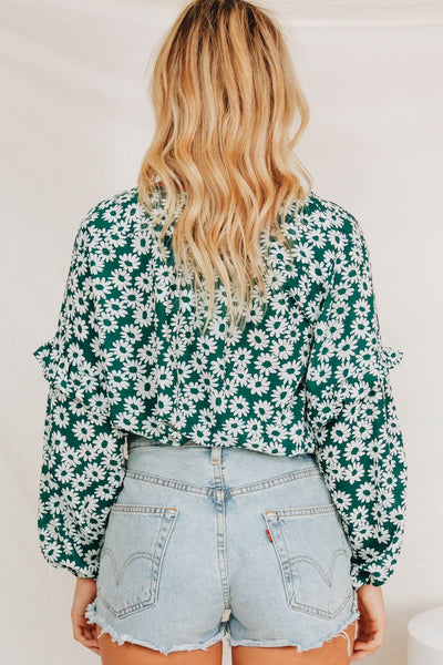 Wholesale Donna Floral Top // Green N1028 - WinkGalB2B