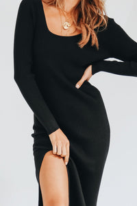 Wholesale Ahead Of Time Ribbed Midi Dress // Black N940 - WinkGalB2B