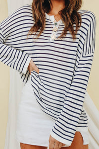 Wholesale Current Generation Stripe Knit Top // Navy N709 - WinkGalB2B