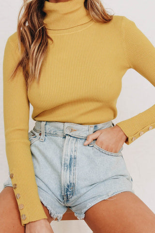 Wholesale Vinyl Store Ribbed Knit Top // Mustard N1083 - WinkGalB2B