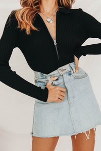 Wholesale The States Zip Front Ribbed Top // Black N862 - WinkGalB2B