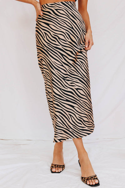 Wholesale A Fashion Footnote Midi Skirt // Zebra N1215 - WinkGalB2B