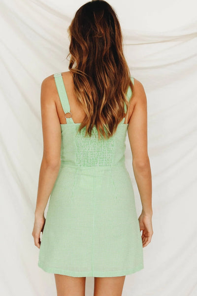 Wholesale We Gotta Groove Check Mini Dress // Lime N1394 - WinkGalB2B