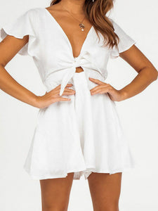 Wholesale Point Break Linen Playsuit White N1490 - WinkGalB2B