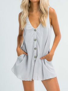 Wholesale Private Joy Linen Playsuit Grey N1491 - WinkGalB2B