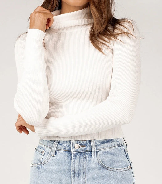 Wholesale SOFIE CREAM ROLL NECK RIB KNIT TOP N1541 - WinkGalB2B