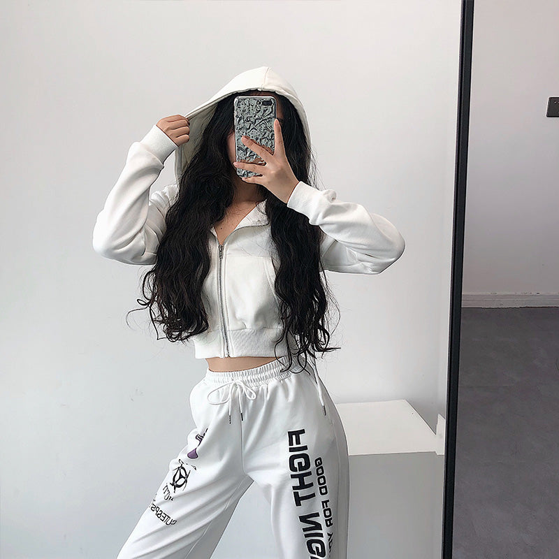 Wholesale Short Hooded Zipper Sweatshirts White N1549 - WinkGalB2B