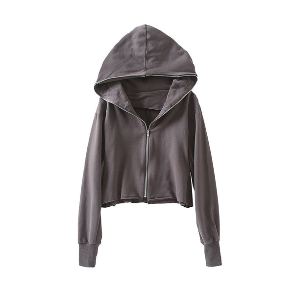 Wholesale Loose Zipper Sport Casual Hoodie Black N1550 - WinkGalB2B