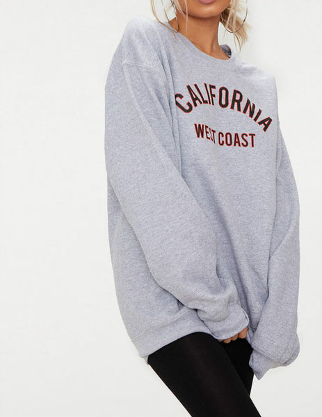 Wholesale MARL CALIFORNIA SLOGAN OVERSIZED SWEATER GREY N1574 - WinkGalB2B