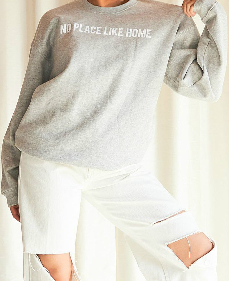 Wholesale NO PLACE LIKE HOME SLOGAN SWEATER GREY N1577 - WinkGalB2B